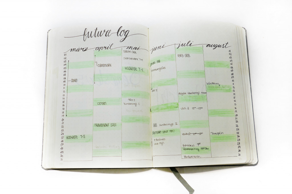 Bulletjournal future log