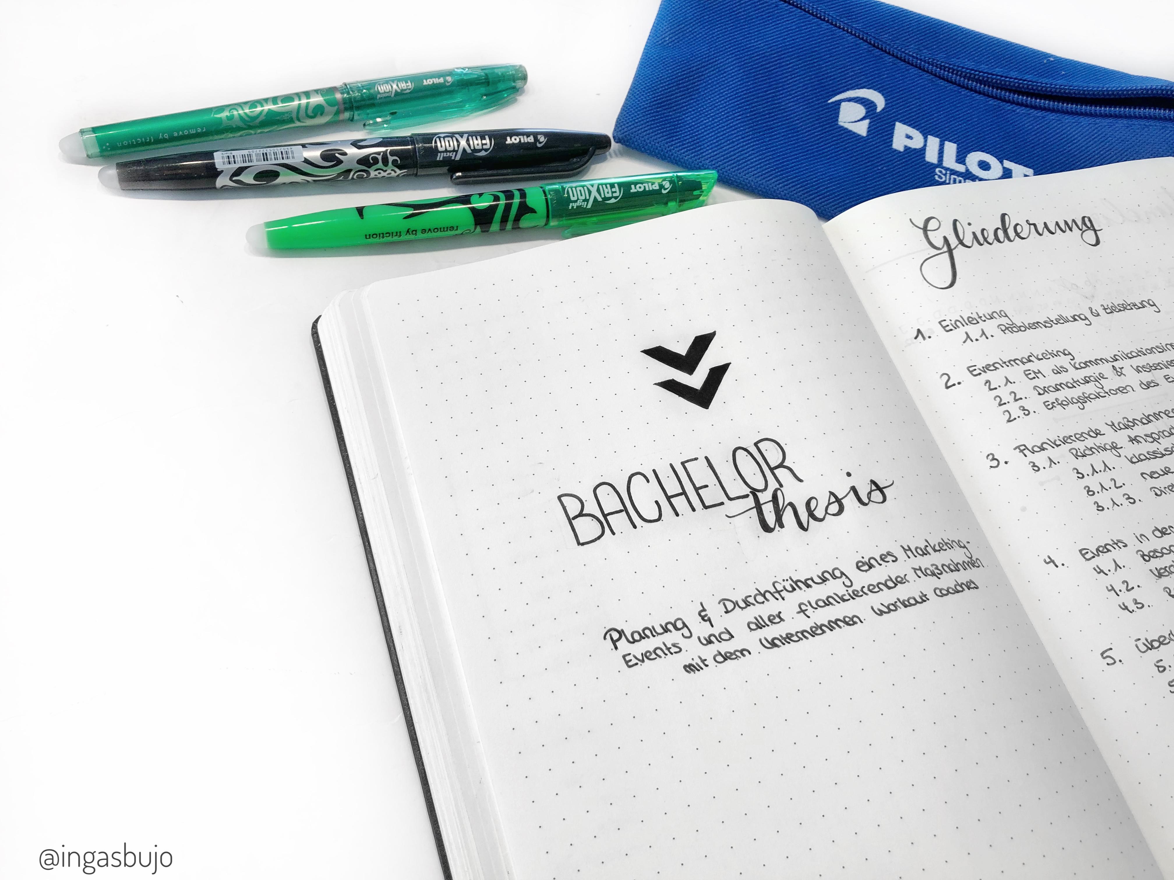 Header für die Bachelor Thesis Seiten im Bullet Journal