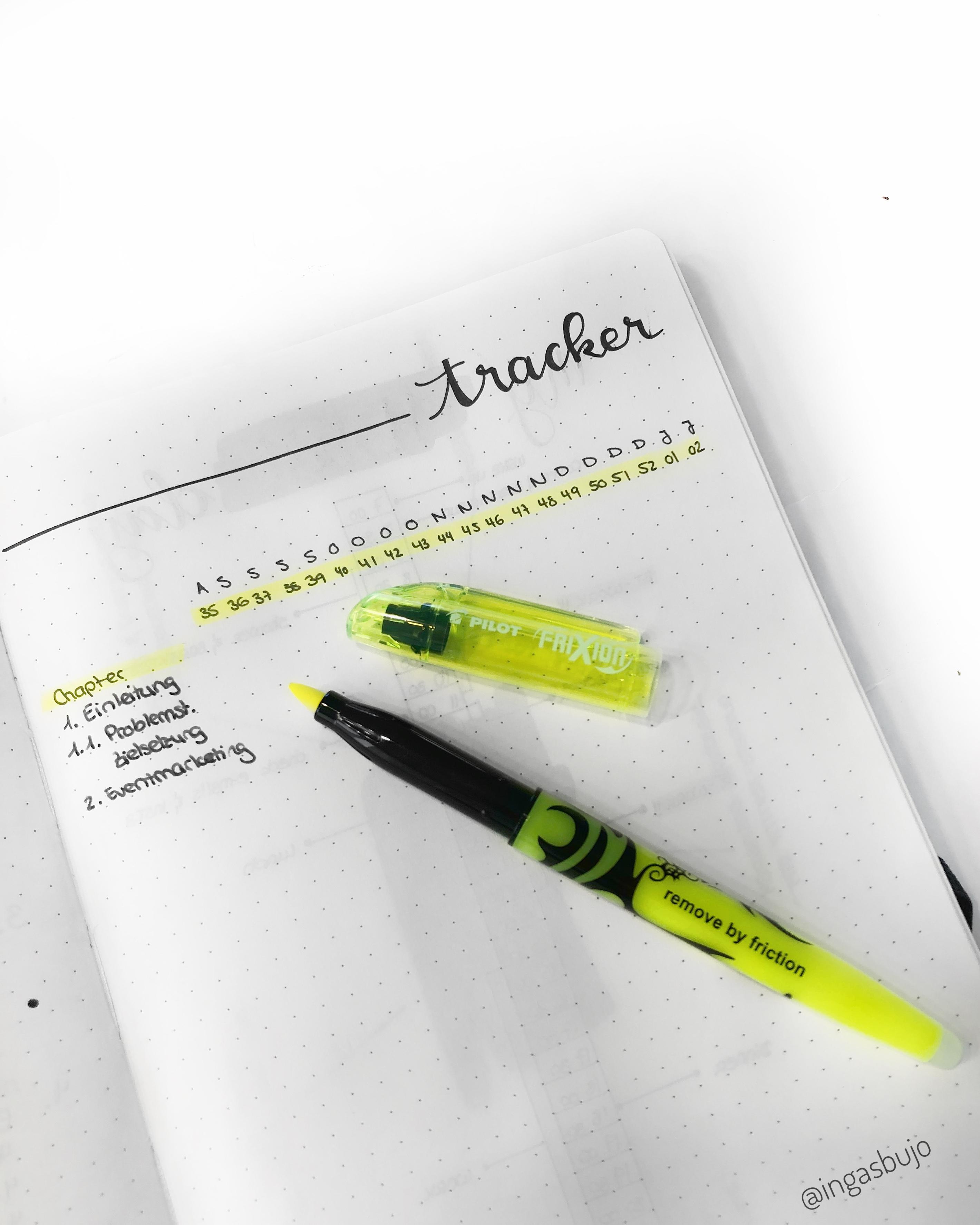 ein Bachelor Thesis Tracker im Bullet Journal, bei dem abgehakt werden kann, ob ein Kapitel recherchiert, geschrieben und schon Korrektur gelesen wurde.