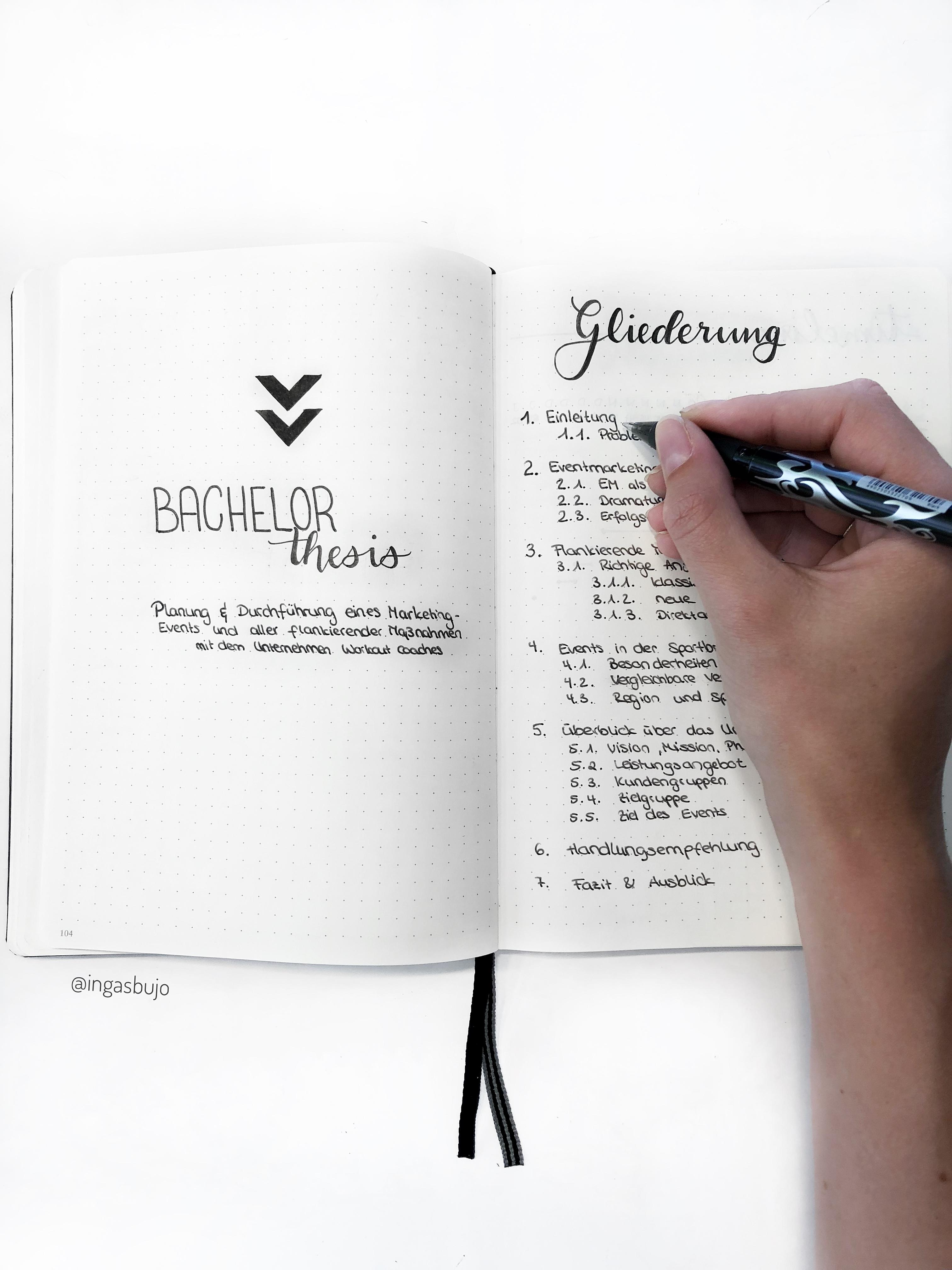 Bachelor Thesis Agenda