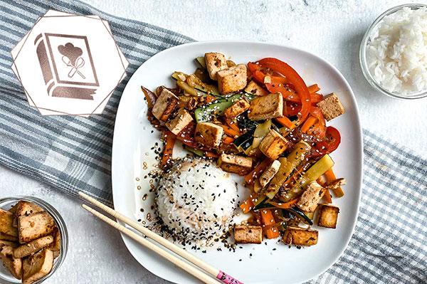 die beste Tofu Gemüse Pfanne mit Reis